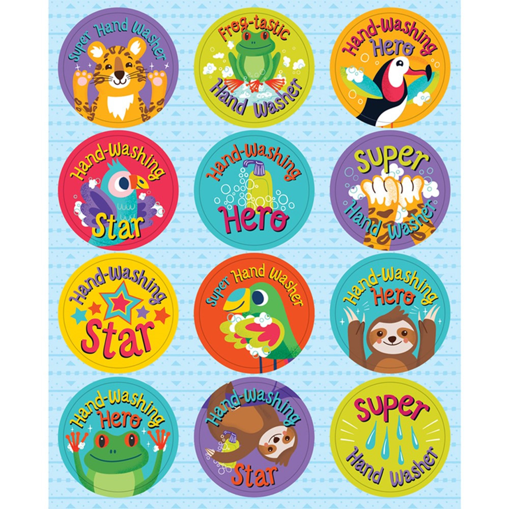 One World Hooray for Handwashing Shape Stickers, Pack of 72 - CD-168302 | Carson Dellosa Education | Stickers