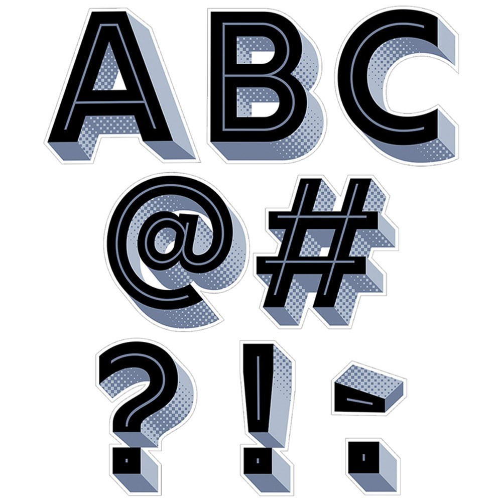 CTP0303 - Black 3D Punchout Uppercase Letters in Letters