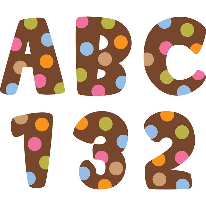 CTP4626 - Dots On Chocolate Uppercase Letter Stickers in Letters