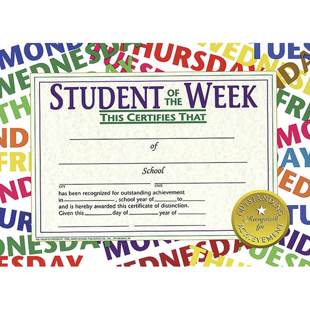 Student Of The Week 30pk 85 X 11 Certificates H Va529 Flipside