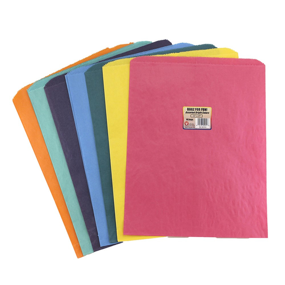 HYG51014 - Colorful Paper Bags 12X15 Asstd Colors Pinch Bottom in Craft Bags