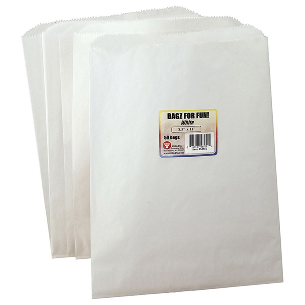 HYG58550 - Colorful Paper Bags 8.5X11 White 50 Pinch Bottom in Craft Bags