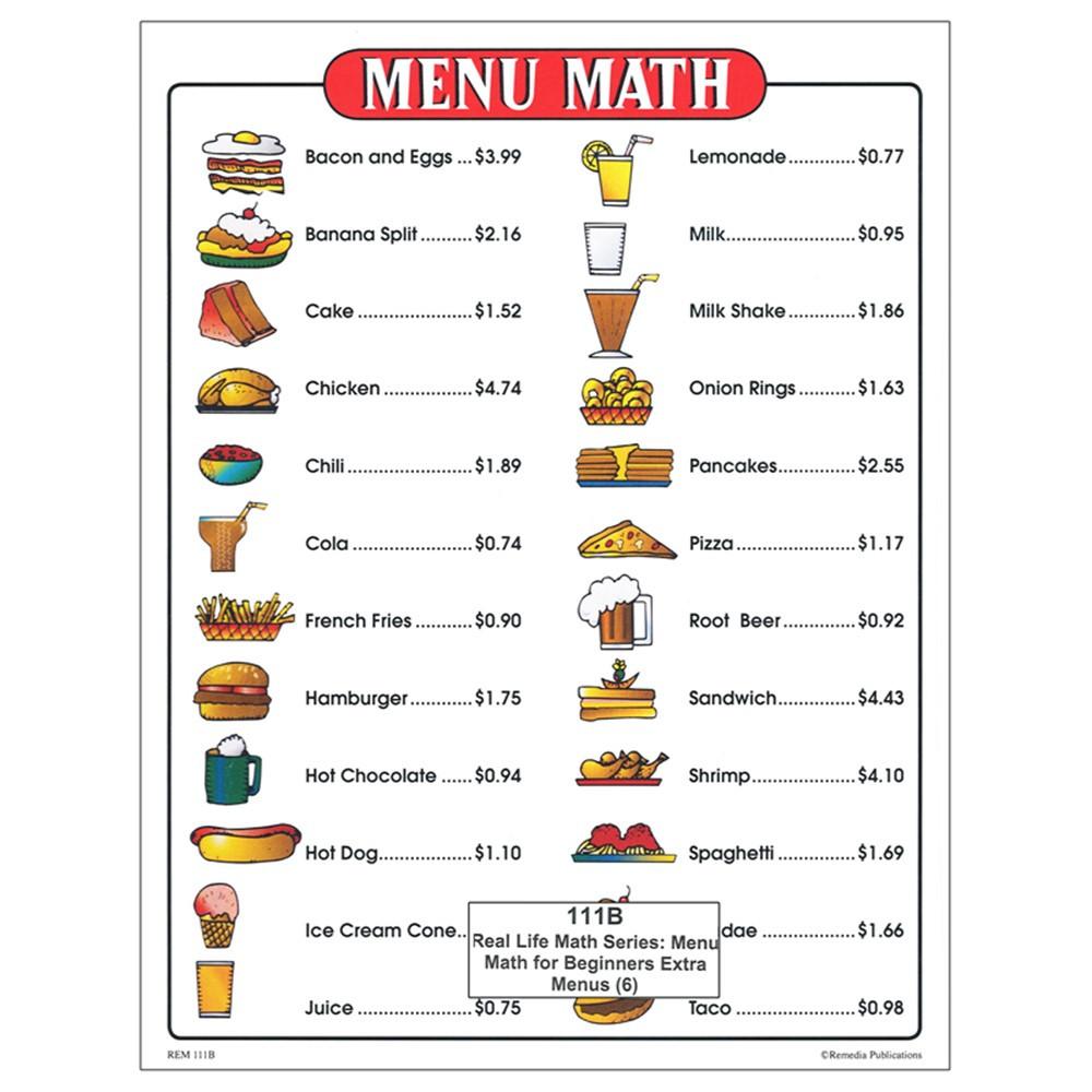 Menu Math For Beginners 6Pk Extra Price Lists - REM111B | Remedia ...