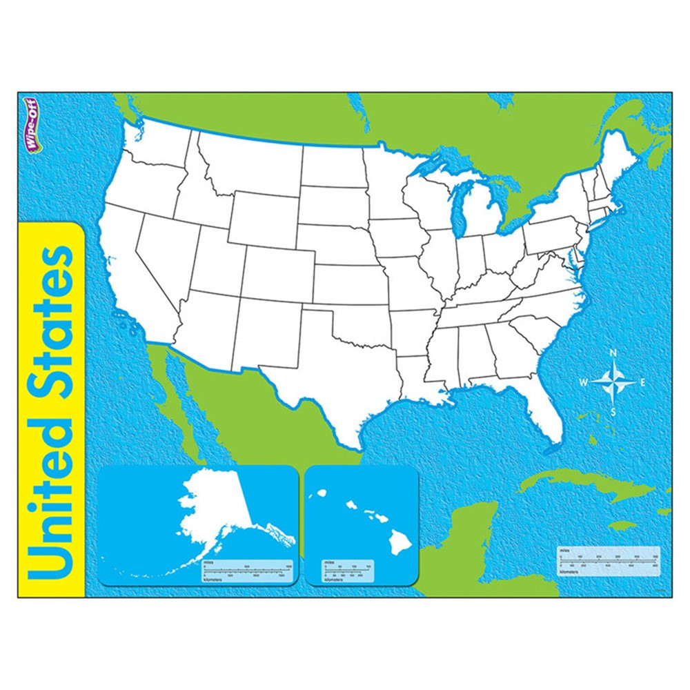 T-27301 - The United States Wipe Off Map 17X22 in Dry Erase Sheets