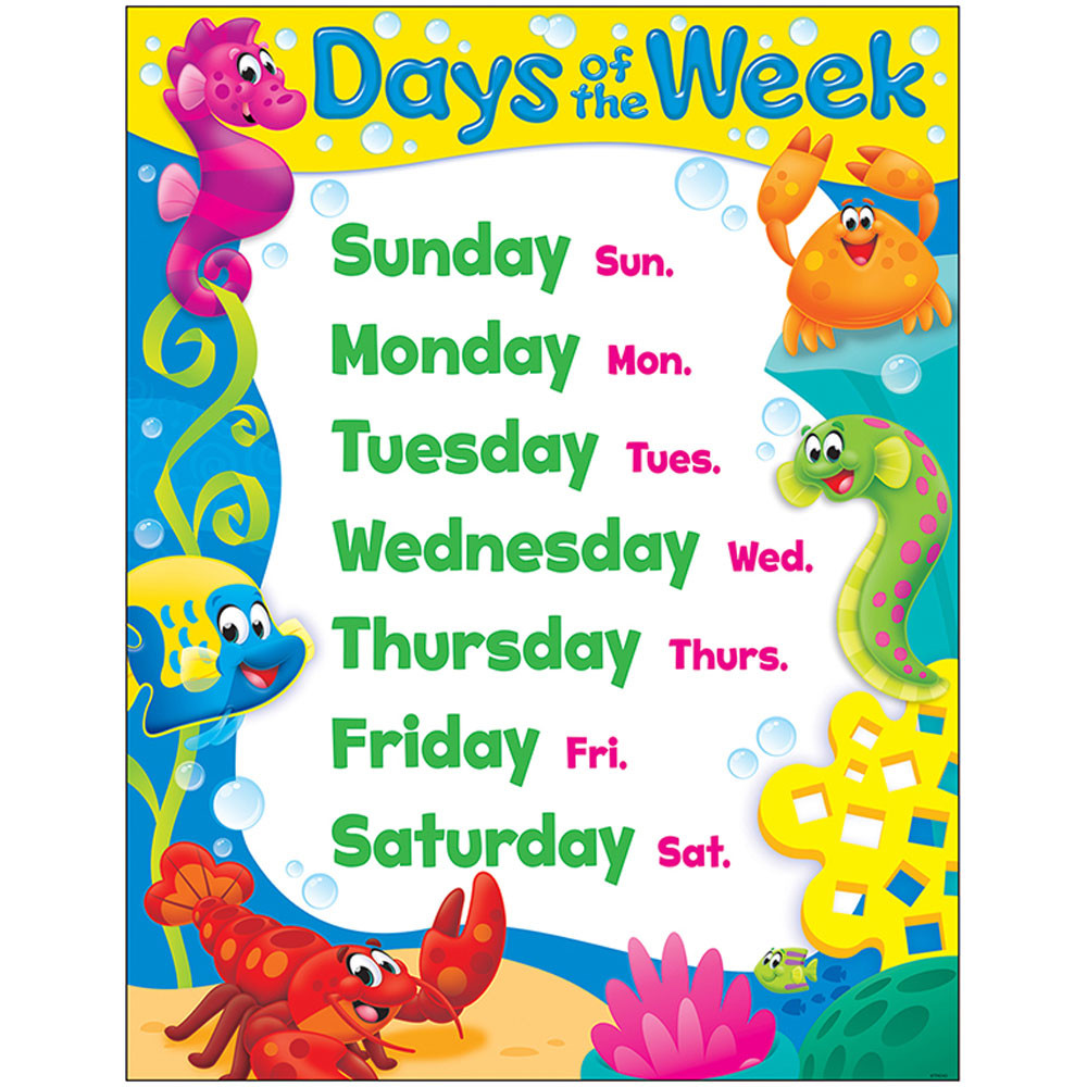 Classroom Decoration Charts For Kids : Days of the week sea buddies learning chart t