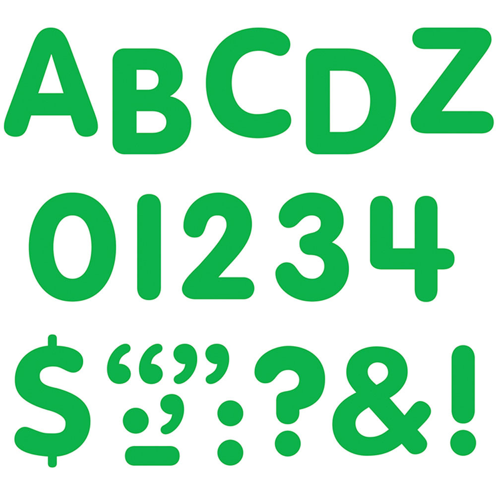 T-78003 - Stick-Eze 1 Letters Numbers Green 184 Uppercase 50 Numerals 90 Marks in Letters