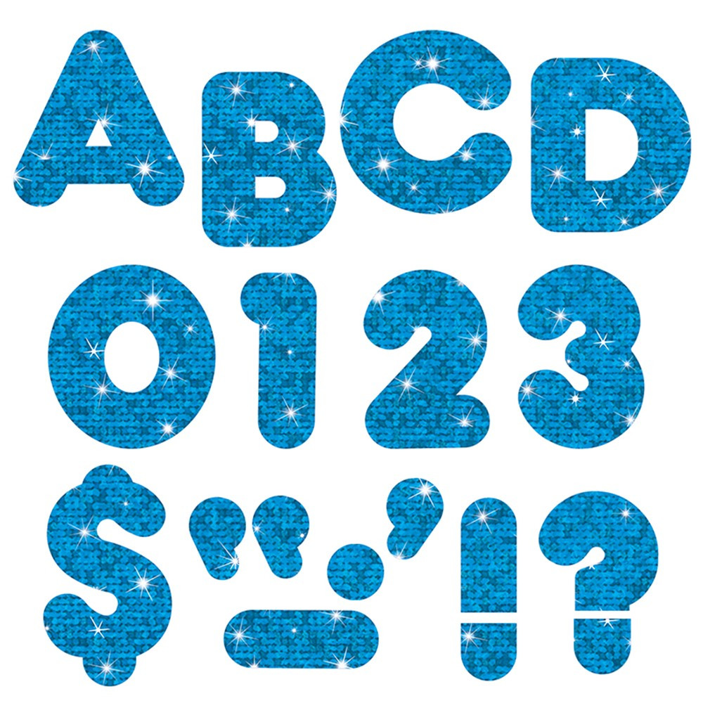 T-79010 - Ready Letters 3 Inch Casual Blue Sparkle in Letters