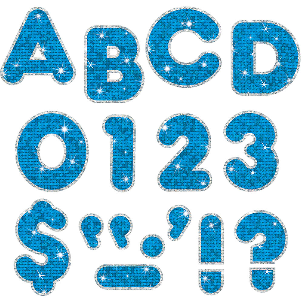 T-79641 - Blue Sparkle Plus 4In Ready Letters in Letters