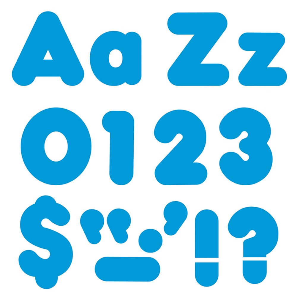 T-79903 - Ready Letter 4 Inch Casual Blue Uppercase & Lowercase Combo in Letters
