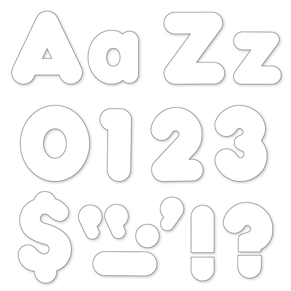 T-79905 - White 4In Casual Uppercase Lowercase Combo Pack in Letters