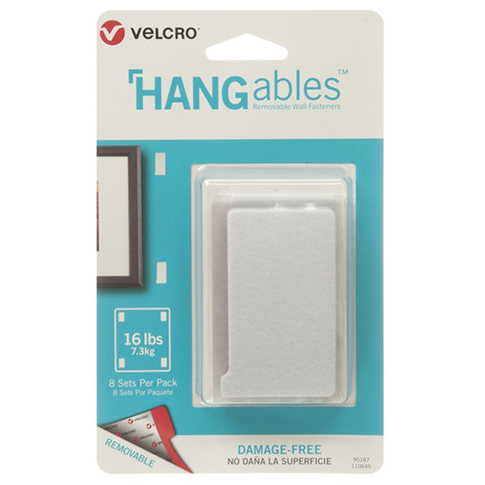 VEC95187 - Hangables 3In X 1-3/4In Strips 8 Ct in Velcro
