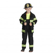 AEAFB46 - Black Firefighter Jacket & Bib Overalls W/ Suspenders Size 4-6 in Role Play