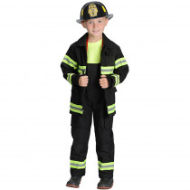 AEAFB68 - Black Firefighter Jacket & Bib Overalls W/ Suspenders Size 6-8 in Role Play