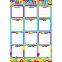 ASH91007 - Emoji Birthday Smart Poly 13X19 Chart in Classroom Theme
