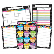 ASH91208 - 5Pk B&W Polka Dots Classroom Charts Smart Poly in Classroom Theme