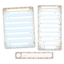 ASH94500 - 3Pc Confetti Pocket Chart Set Smart Poly in Classroom Theme