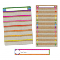 ASH94503 - 3Pc Burlap Stitched Pocket Chart St Smart Poly in Classroom Theme