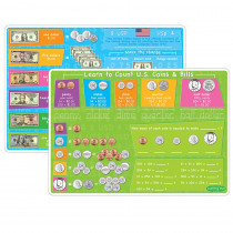 ASH95627 - 10Pk Us Money & Coins Learning Mat 2 Sided Write On Wipe Off in Money