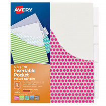 AVE07708 - Avery Big Tab 5 Tab Pocket Insertable Plastic Dividers Set in Dividers