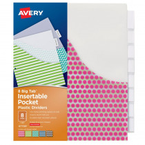 AVE07709 - Avery Big Tab 8 Tab Pocket Insertable Plastic Dividers Set in Dividers