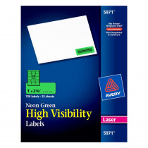 AVE5971 - Neon Green Labels 750Ct 1X2-5/8In in Folders