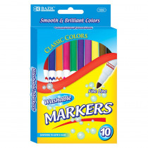 BAZ1224 - Washable Markers Super Tip 10 Colrs in Markers
