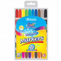 BAZ1234 - Washable Markers Double Tip 10 Clrs in Markers