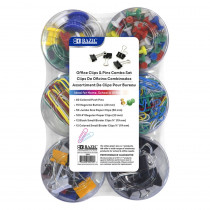 Push Pin, Paper Clip, Binder Clip, Magnetic Button Combo Set - BAZ290 | Bazic Products | Clips