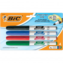 BICGDEP41AST - Bic Great Erase Dry Erase Fine Point Markers 4 Pack Low Odor in Markers