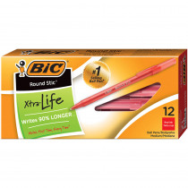 BICGSM11RD - Bic Stick Pens Medium Red 12/Pk in Pens