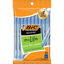 BICGSMP101BE - Bic Round Stic Ballpoint Pens Blue 10Pk in Pens