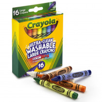 BIN523281 - Crayola Washable Crayons 16Ct Large 4 X 7/16 in Crayons