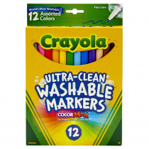 BIN587813 - Crayola Washable Markers 12Ct Asst Colors Fine Tip in Markers