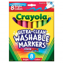 BIN587819 - Crayola Washable 8Ct Bright Colors Conical Tip in Markers