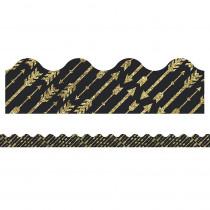 CD-108318 - Gld Glitter Arrows Scalloped Border Sparkle And Shine in Border/trimmer