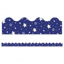 CD-108367 - Navy W/ Foil Star Scalloped Borders Sparkle And Shine in Border/trimmer
