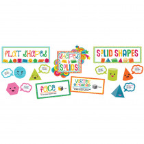 CD-110327 - School Pop Shapes & Solids Bulletin Board Set in Classroom Theme