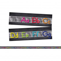 CD-110407 - Star Alphabet Line Manuscript Mini Bulletin Board Set School Girl Style in Language Arts