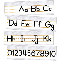 Simply Boho Alphabet Line Manuscript Mini Bulletin Board Set - CD-110507 | Carson Dellosa Education | Alphabet Lines