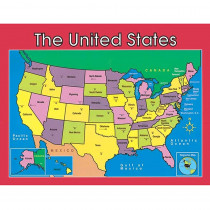 CD-114091 - Us Map Laminated Chartlet 17X22 in Social Studies