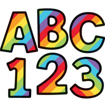 CD-130082 - Rainbox Stripe 4In Ez Letter Celebrate Learning in Letters