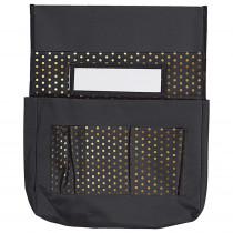 CD-158181 - Chairback Buddy Black W/ Gold Polka Dots in Storage