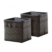 CD-158183 - Tabletop Storage Black W/ Gold Polka Dots in Storage