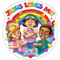 CD-288005 - Jesus Loves Me 15X15 Accent in Two Sided Decorations