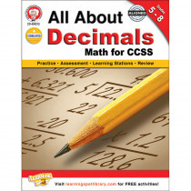 CD-404213 - All About Decimals Book Gr 5-8 in Fractions & Decimals
