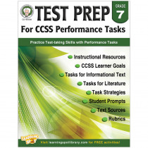 CD-404230 - Gr 7 Test Prep For Ccss Performance Tasks in Language Arts