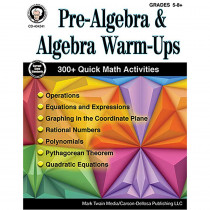 CD-404241 - Pre-Algebra & Algebra Warm-Ups Gr 5-8 in Algebra
