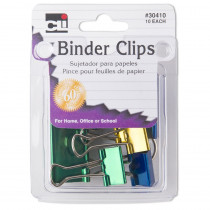 CHL30410 - Binder Clips Asst Size & Color 10Pk in Clips