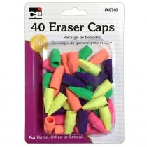 Pencil Eraser - Caps - Assorted Colors - 40/Cd - CHL80740 | Charles Leonard | Erasers