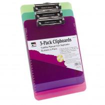 Clipboard - Plast/Transp w/Low Profile Clip - Ltr - Assorted Neon Colors, 3/Pk - CHL89775 | Charles Leonard | Clipboards